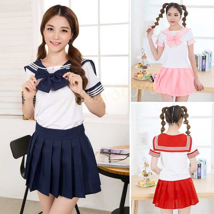 Red and white striped school summer dress