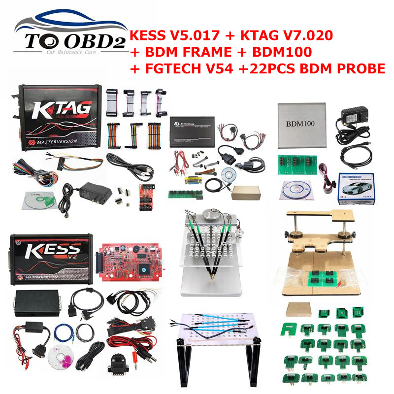 Kess V5 017 KTAG V7 020 OBD2 Manager Tuning Kit Ktag BDM100 ECU Programmer FGTECH Galletto 4 V54 bdm frame with 22PCS adapter
