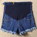 Venta caliente 2016 Nueva Llegada de Maternidad Verano Jeans Cortos Flecos Borlas Decorado Suave Pantalones Calientes Del Dril de Algodón Para Las Mujeres Embarazadas