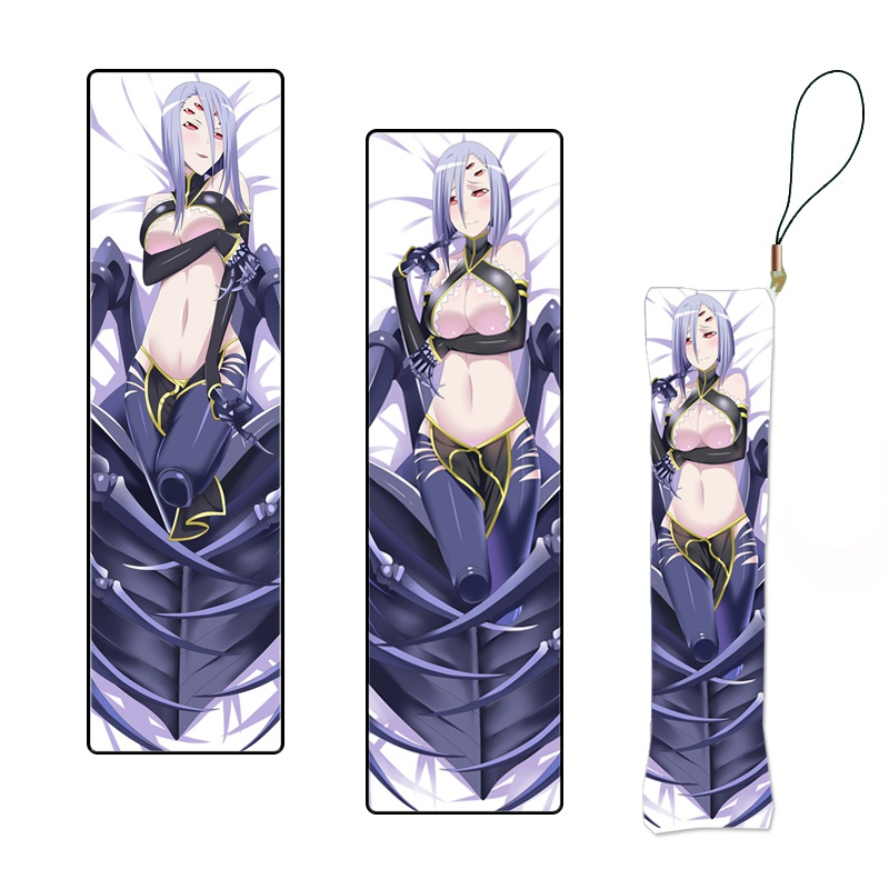 Japanese Anime Monster Musume Cute Little Mini Dakimakura Keychain Rachnera Print Pillow Hanging Ornament Phone Strap Custom