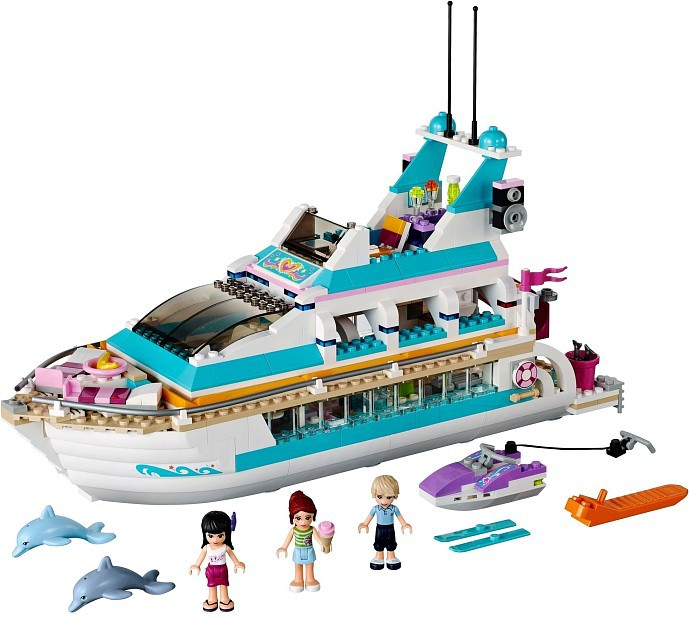 Pogo Gifts Girls Friendseteries Dolphin Yacht 41015 Girls Friends Building Blocks Bricks Toys Compatible Legoe lepin 41178 bela 10549 pogo the dragon sanctuary girls friends pricness elf model building blocks bricks toys compatible legoe t