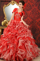 Sequined Beaded Quinceañera Dresses Red với Áo Khoác Thanh Lịch vestidos de 15 anos Tầng Ruffles Sweet 16 Dresses Formal Bóng Gown