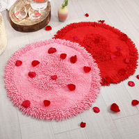 Red round chenille rug Wedding decorations carpet Cotton mats Computer chair pad non slip doormat bathrrom Absorbent carpet
