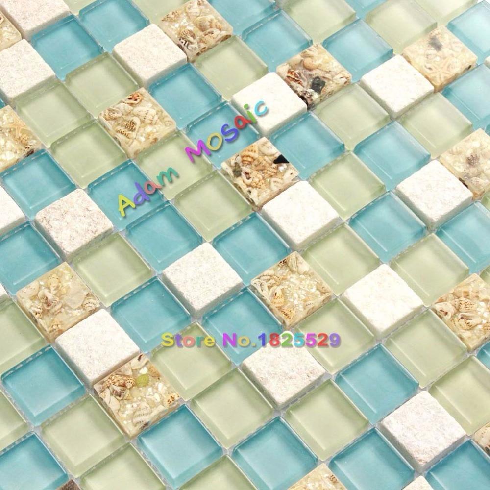 Aliexpress.com : Buy Wall Tiles White Stone Mosaic Tiles Glass Blue ...