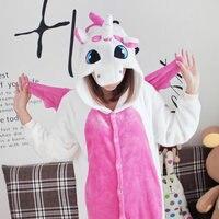 Kigurumi Pink Unicorn Pajamas Winter Cartoon Adult Unisex Onesie Hooded Cute Sleepwear Animal Pyjama Women B0499