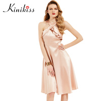 Kinikiss Women Feminine Nude Pink Dress Halter Ruffle Elegant A Line Dresses Smooth Celebrity Lady Party