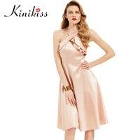 Kinikiss Mujeres Nude Pink Ruffle Dress Halter Elegante Una Línea de Vestidos de Satén de La Celebridad Femenina Falbala Vestido de Partido de La Señora Con Estilo