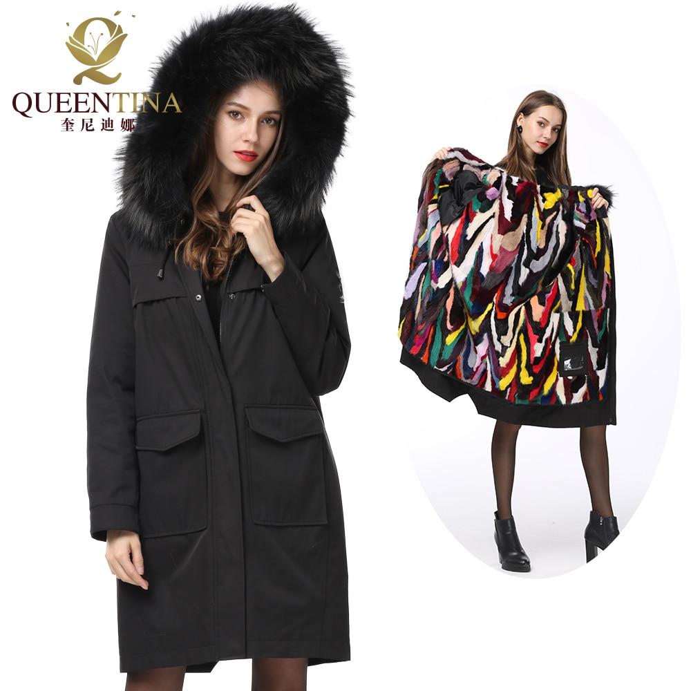 Natural Fur Parkas Hooded Winter Women Coat Real Raccoon Fur Collar Long Jacket Genuine Mink Fur Parka Detachable Collar/Liner