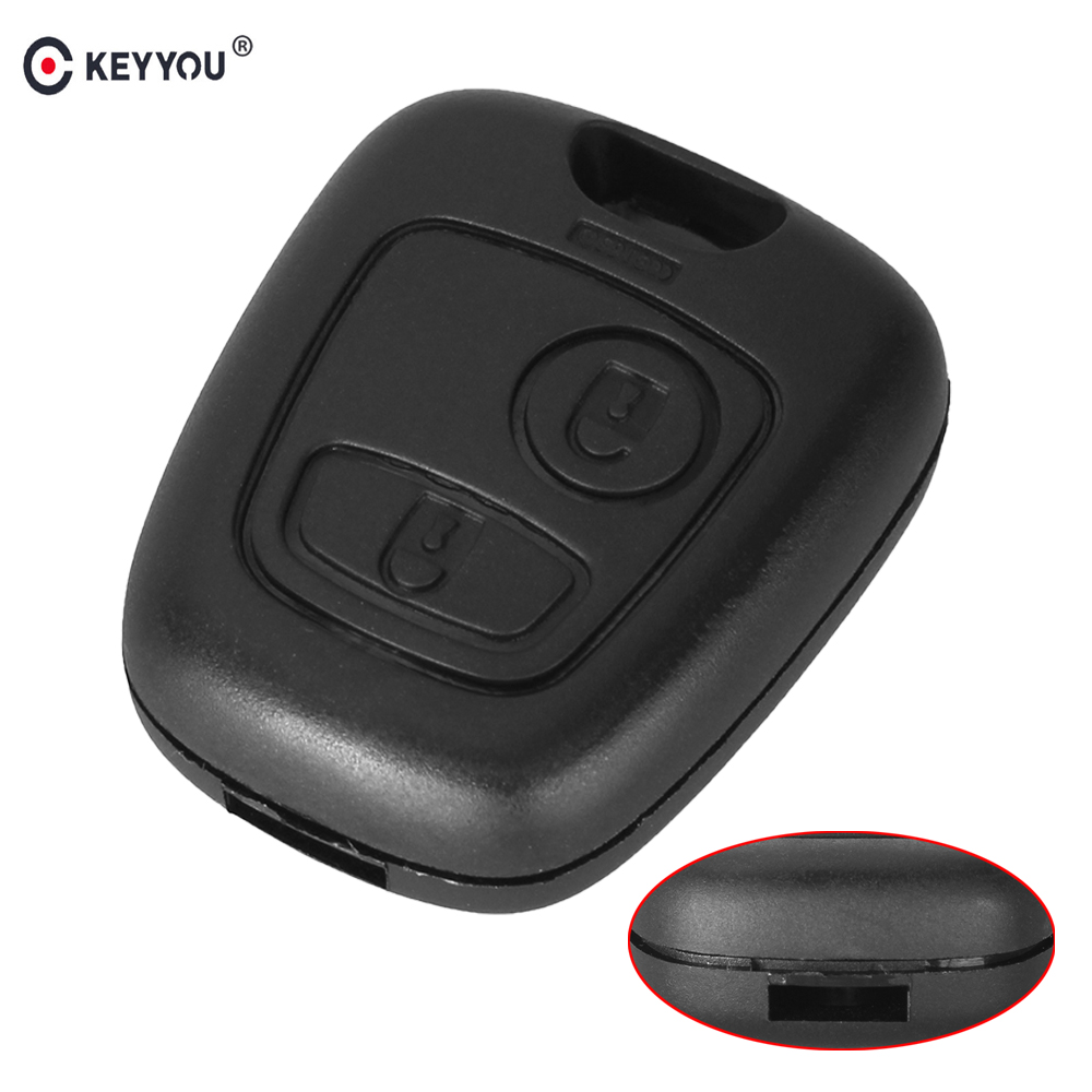 KEYYOU 2 Buttons Replacement Remote Blank Car Key Shell Fob Case For Peugeot 206 307 107 207 407 No Blade Auto Key Case(China)