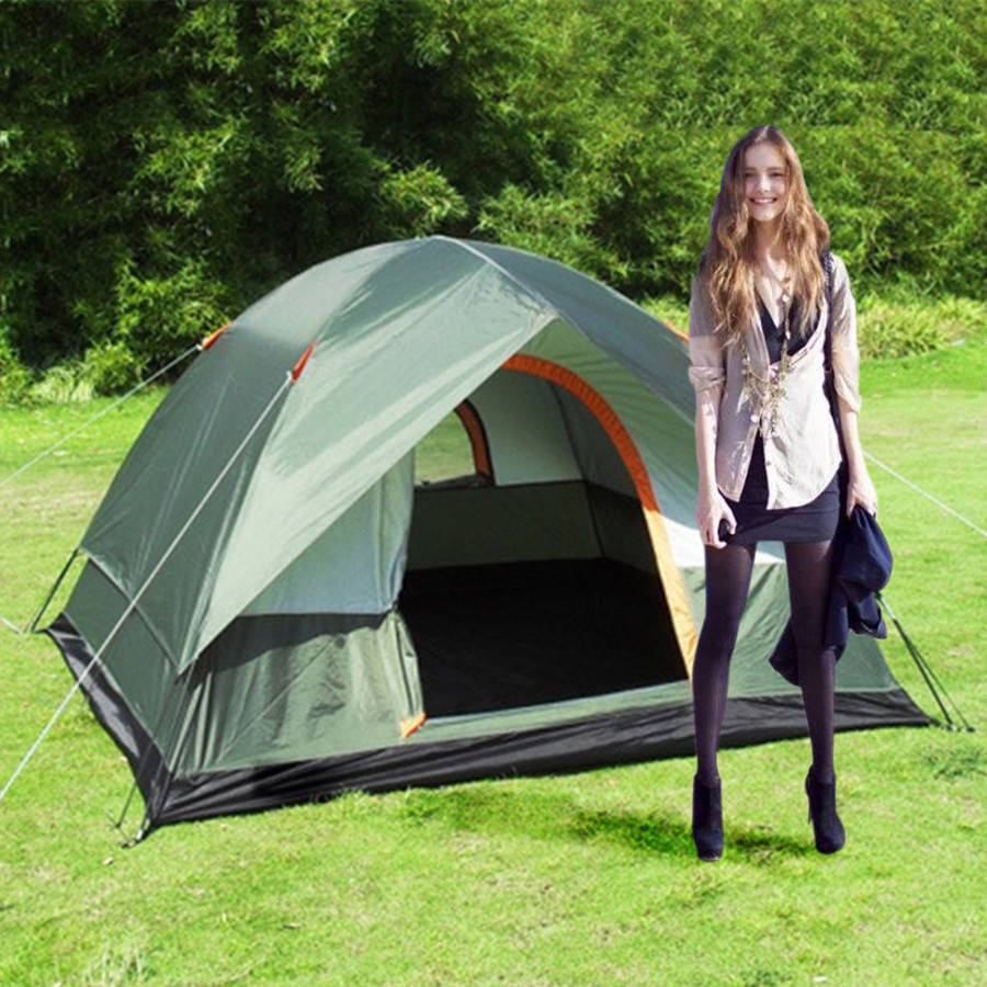 3-4 Person Windproof Camping Tent Waterproof Oxford Cloth Dual Layers Outdoor Sport Beach Travel Hiking Tents Pop Up Large Space high quality waterproof oxford fabric double layers tent large space 6 8 person 4 season outdoor travel camping hiking tent