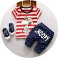 2016 novo treino de verão crianças conjuntos de roupas meninos bebê dos desenhos animados de algodão da listra cão conjuntos de roupas crianças t-shirt + shorts 2 pcs terno