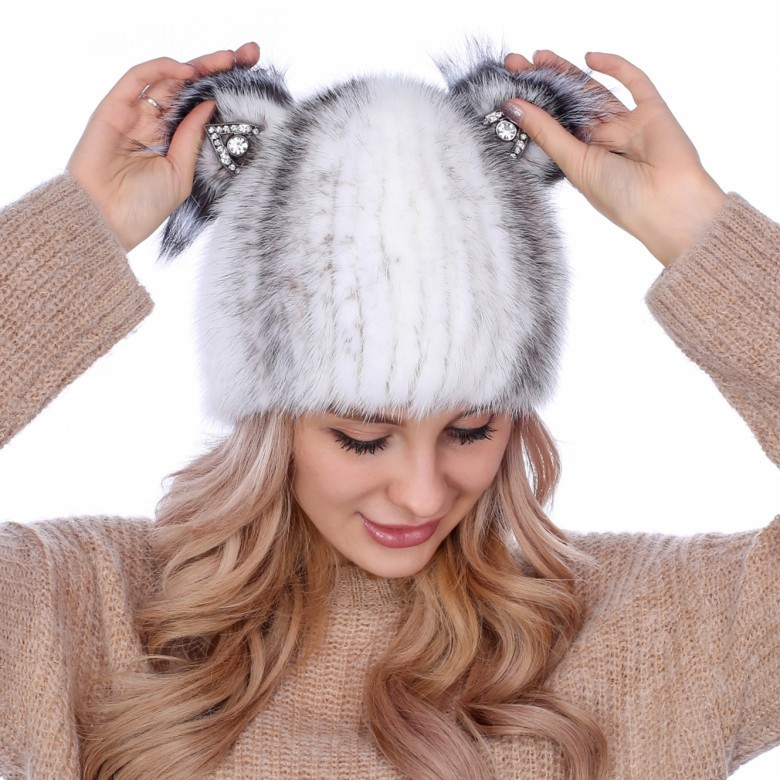 หญิงขนมิงค์หมวกฤดูหนาวมิงค์ถักหมวกใหม่ฮันฉบับที่อบอุ่นขนแฟชั่นหูแมวหมวกขนสัตว์