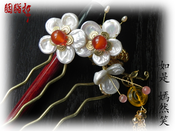 Pearl agate gold plated peach blossom Yan Ran Xiao Hair Comb Classical Hanfu Accessory Hair Stick handmade hair accessory pink crystal double layer classical hair stick vintage hair accessory hair stick hanfu hair accessory