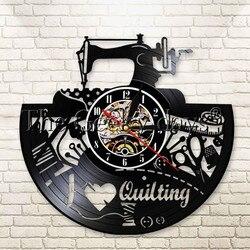 1 sztuka kocham szycie pikowania maszyna krawiec sklep nowoczesne dekoracje do domu ozdoba do powieszenia na ścianie przyrządy do szycia płyta winylowa zegar ścienny