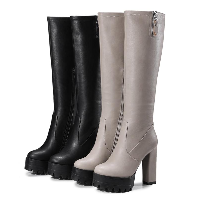 Tamaño Plataforma 42 De Sexy Calzado Tacón A909 grey Rodilla Invierno Caliente Cat Reave Alto Frío 32 Black Zapatos Cremallera Mujeres Botas 5tznFw8q4x