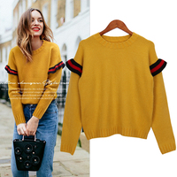 Casual School Preppy Style Loose Truien Dames Top Femme Jumpers Ladies Pink Yellow Ribbed Pullovers Women Autumn Spring Sweater