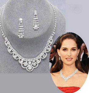 Fashion Silver Tone Crystal Tennis Choker Necklace Set Earrings Factory Price Wedding Bridal Bridesmaid African Jewelry Sets 15