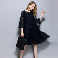 Summer Lace Hollow Out Expectant Mother Dress Half Sleeve Casual Dresses Pregnant Women Clothes Loose Maternity Dress
