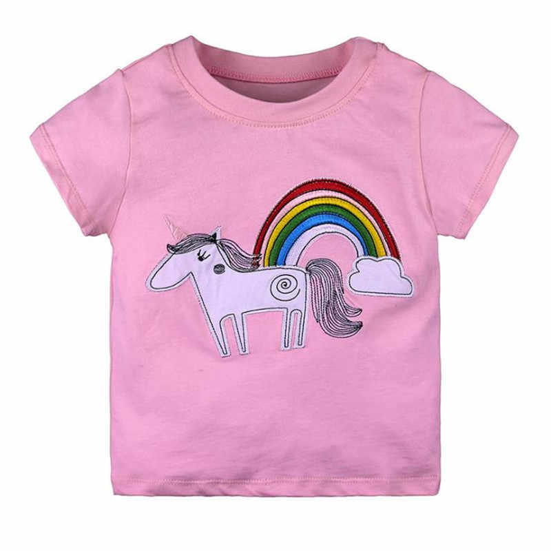 2018 Новая летняя детская одежда для мальчиков и девочек, топы и футболки с рисунком единорога и звезд, хлопковые футболки высокого качества