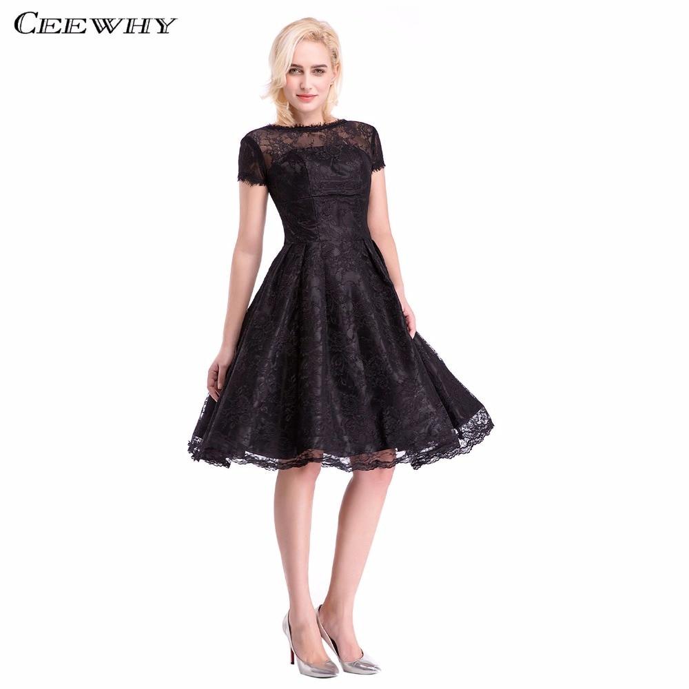 Black Short Sleeve A-Line Women Short Party   Dress   Party Prom   Dresses   Knee-Length robe de   Cocktail     Dresses   Summer Lace   Dresses