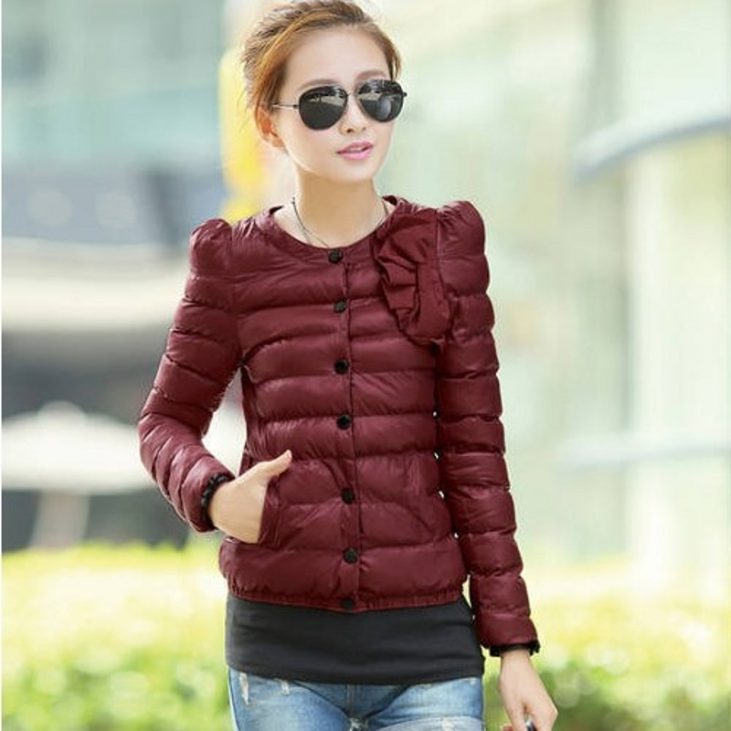 Women Coat   Parkas   Solid Single Breasted Bow Decoration Long Sleeve Short Coat Outwear M-XXL chaqueta mujer C89497