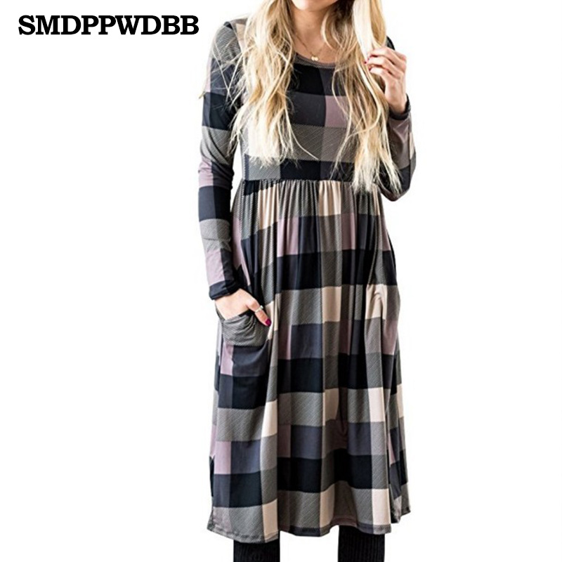 Winter Spring Maternity Plaid Dress Women Long Sleeve Sexy O-Neck Knee-Lenght Maternity Plaid Dresses Women Clothes Plus Size