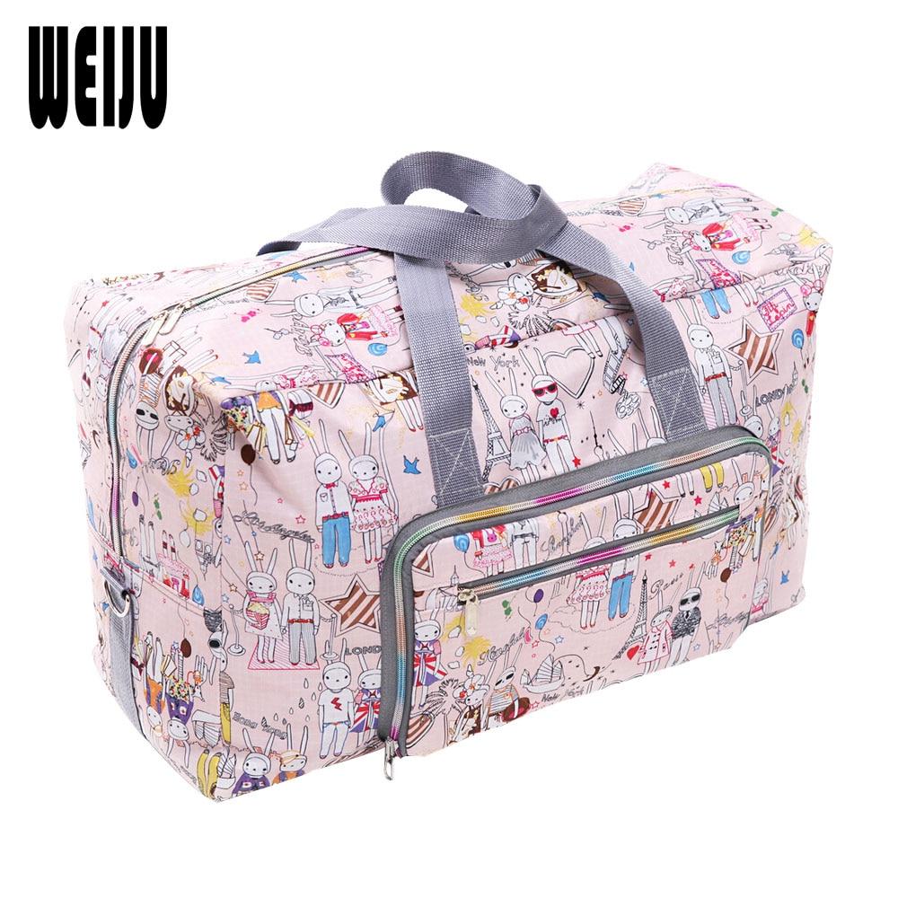 WEIJU 2017 New Folding Travel Bag Large Capacity Waterproof Printing Bags Portable Women's Tote Bag Travel Bags Women тенты зонты weiju 1200 pc
