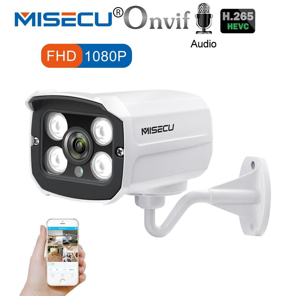 Misecu H.265 аудио Камера запись звука DC 12 В 48 В POE Водонепроницаемый металла 2.0MP Full HD обнаружения движения RTSP FTP Onvif ночного видения