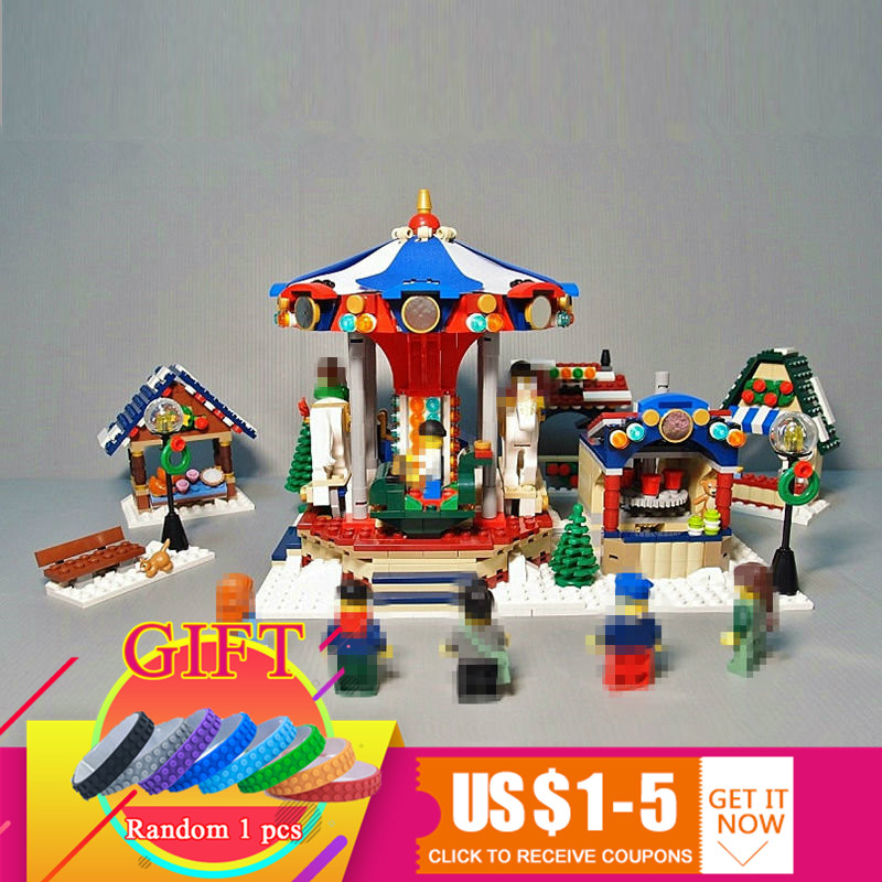 36010 1412PCS Creative Series Winter Village Market set Compatible with 10235 Building Blocks Bricks Children Toys Gift lepin 36010 genuine creative series the winter village market set legoing 10235 building blocks bricks educational toys as gift