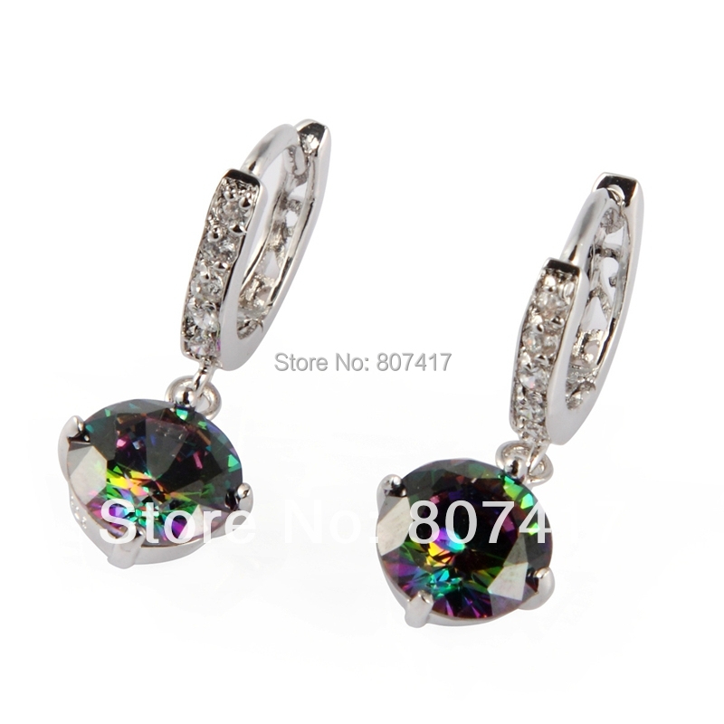 Beautiful Silver Plated Bohemia Rainbow Cubic Zirconia Earrings E723 Engagement Wedding sumptuous Noble Women The new