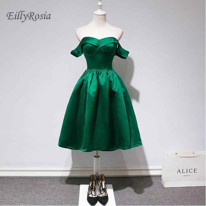 be671b35ce vestidos de graduacion Emerald Green Short Prom Dresses Elegant Satin Sexy  Off The Shoulder Formal Graduation