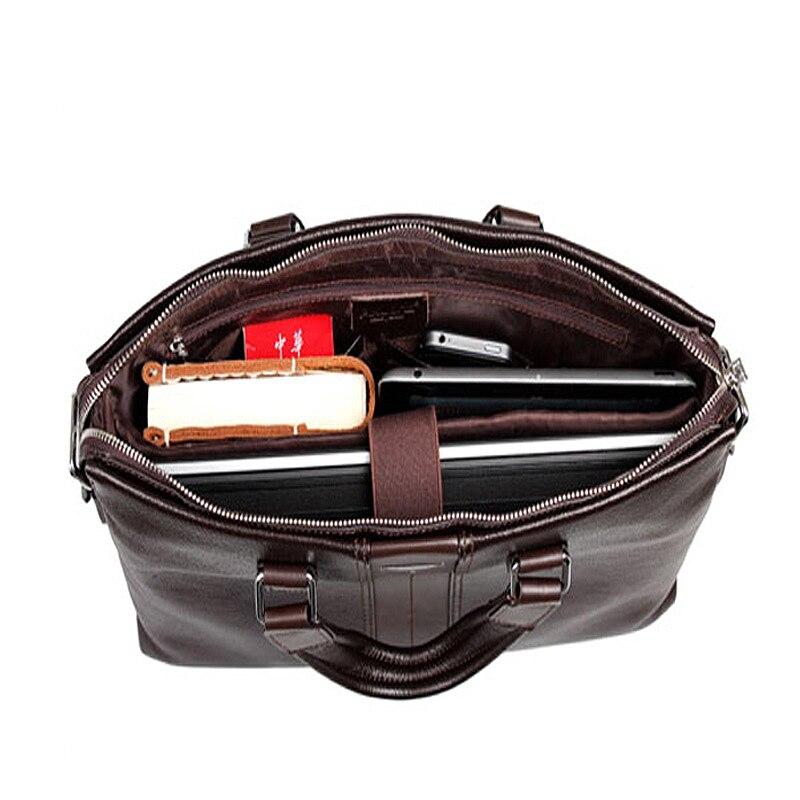 Bolsos de moda para hombre P. kuone vintage maletín de cuero genuino marrón bolsos de hombro de negocios maletín de alta calidad para ordenador portátil - 3