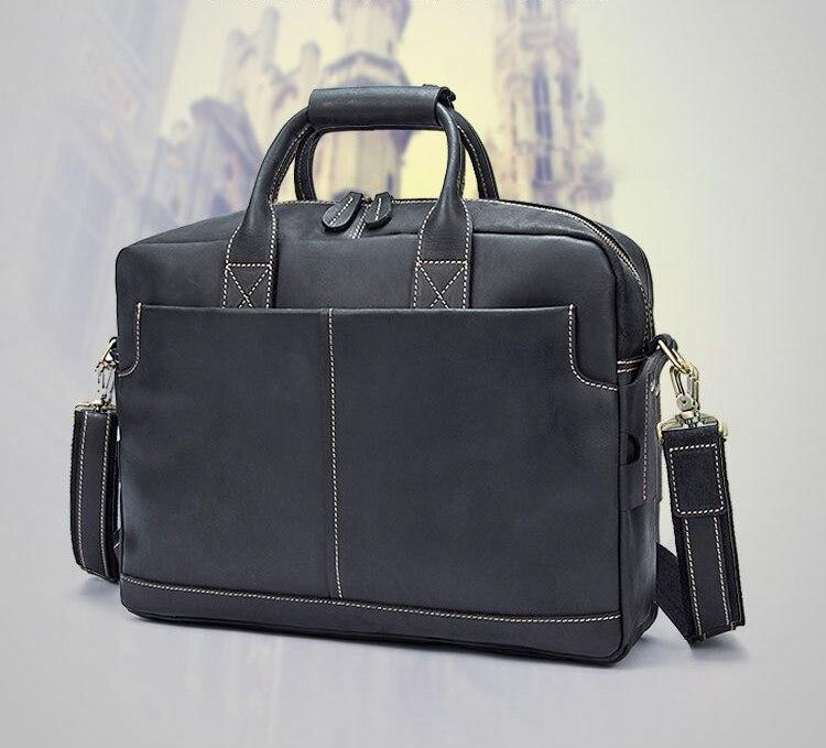 Qualité d/'affaires sac d/'épaule Travail Ordinateur Portable Tablette Sac large noir en cuir véritable