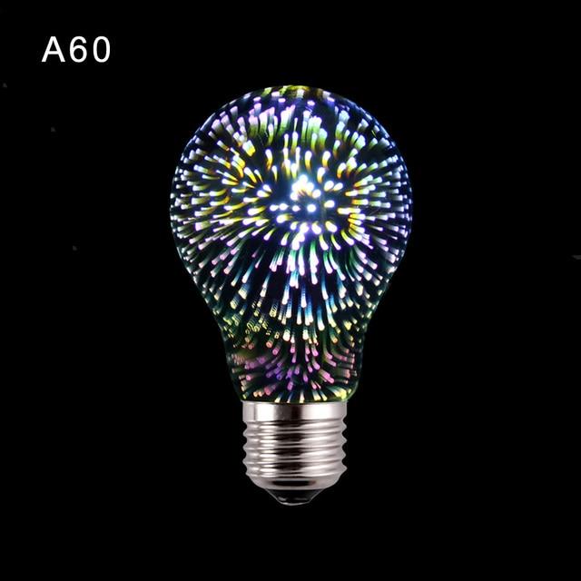 Colored Led Lights >> Fireworks 3d illusion lamp Innovative Edison Bulb LED Holiday Decor Light E27 Multi colored ...
