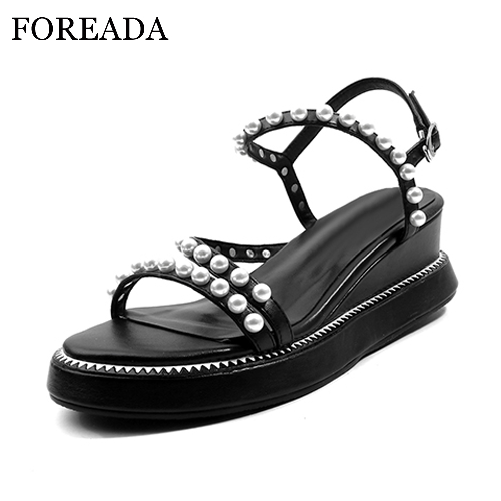FOREADA Genuine Leather Sandals 2018 Summer Wedges High Heels Shoes Women Platform Gladiator Sandals Pearls Shoes White Black lenkisen genuine leather big size wedges summer shoes gladiator super high heels straw platform sweet style women sandals l45
