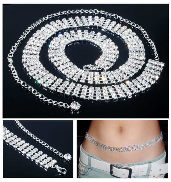 Sparkling 4 Rows Fashion Lady's Body Jewelry Crystal Sexy Belly Waist Chain Night Party Waistband Summer Bikini Accessories