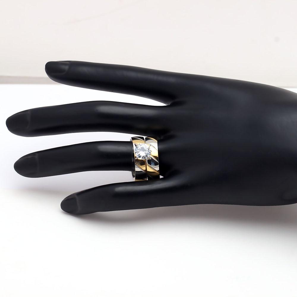 Hot koop 2017 nieuwe rvs ring sets goud kleur engagement vrouwen - Mode-sieraden - Foto 4