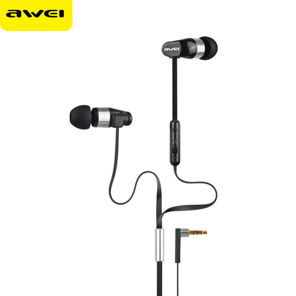 Awei Stereo Wired In Ear Headphone In-Ear Earphone For Phone iPhone Samsung Head Headset Earpiece Sluchatka Auriculares Kulakl K mini wireless in ear micro earpiece bluetooth earphone cordless headphone blutooth earbuds hands free headset for phone iphone 7