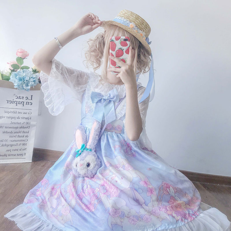 Sweet Lolita Palace Princess Sweet Cute Half Sleeve Doll Collar Lace Cute Print Lolita Dresses Cos Maid Costumes