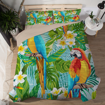 Free shipping Jungle tropical plant Monstera macaw parrot pattern Quilt Cover with pillowcase set for Twin full Queen King size
