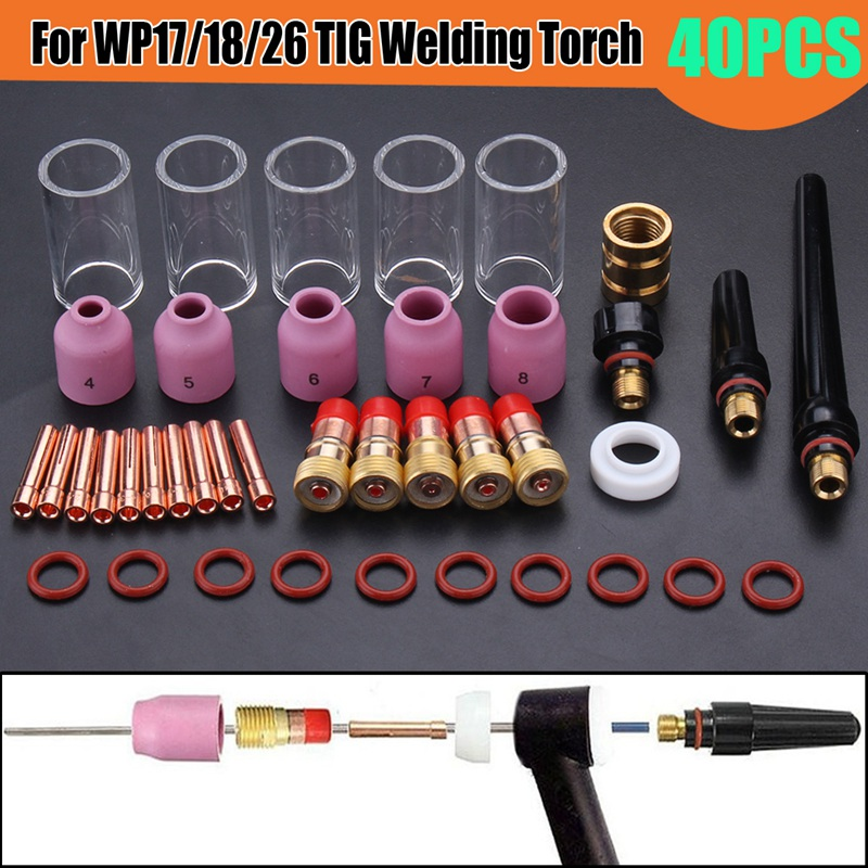 Forgelo New 40Pcs 1.0mm+1.6mm+2.4m+3.2mm TIG Welding Torch Stubby Gas Lens Glass Nozzle Cup Torch Accessories Kit For WP17/18/26 wp 17f sr 17f tig welding torch complete 26feet 8meter soldering iron flexible