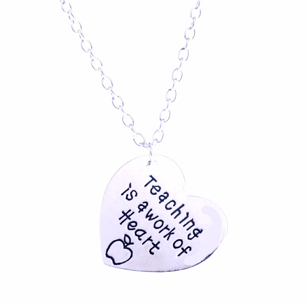 Teachers Gifts Teaching Is A Work Of Heart Apple Pendant Necklace For Teachers Day Thanksgiving Charm Jewelry School Xmas Gifts