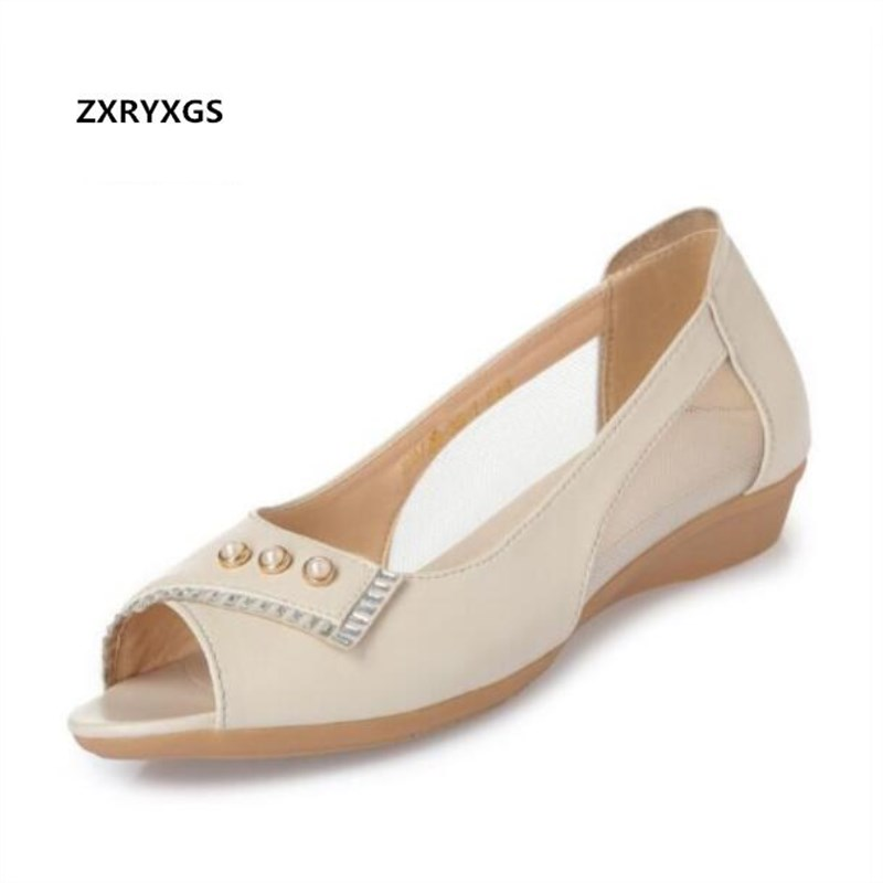 54ee7f2f349dcb Leather Sandals Summer Comfortable Mesh flat Plus Rhinestone Women Sandals  Genuine and Soft Casual Pearl Fashion ...