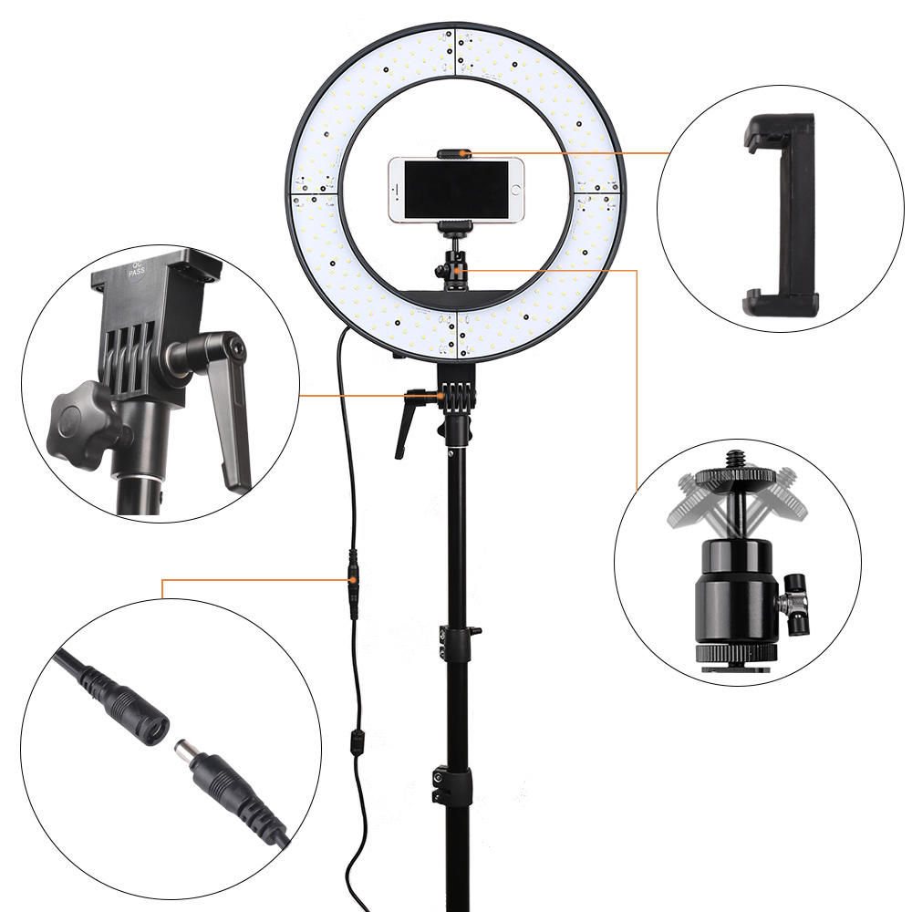 spash RL 12 LED Ring Light Circular Photography Lighting with Tripod 5500K CRI90 196 LEDs Camera Photo Studio Phone Video Lamp-in Photographic Lighting from Consumer Electronics    3