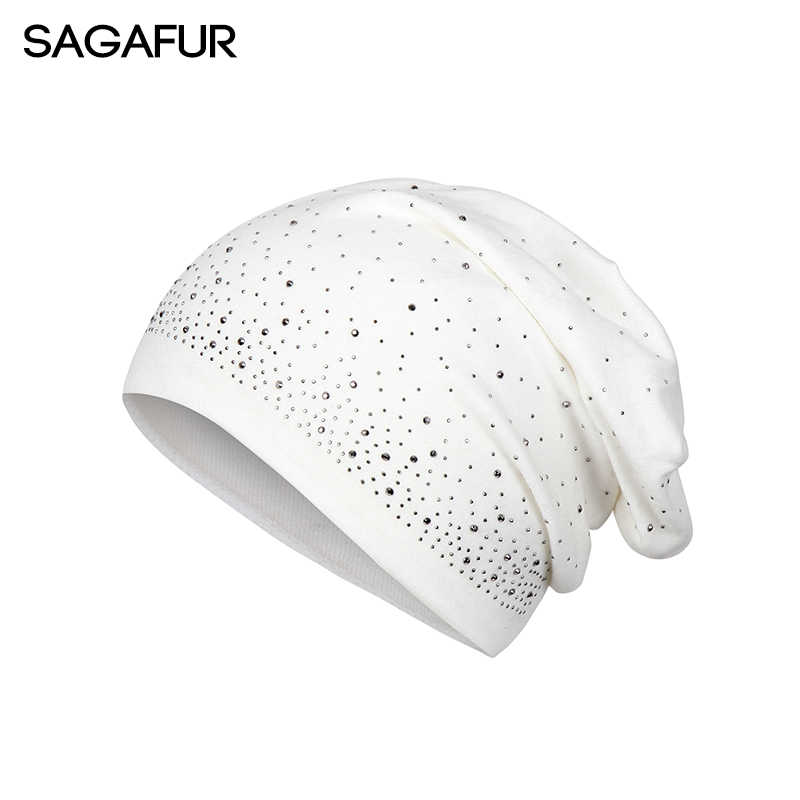 6c6abed54c4 Autumn Winter Knitted Hat Female Cap Women s Vogue Rhinestone Bonnet Cotton  Blends Hat Casual Solid Skullies