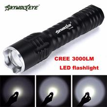 JA 4 Shining Hot Selling Fast Shipping    Zoomable Focus 3000 Lumens 3 Modes CREE XML T6 LED 18650 Flashlight Torch Lamp