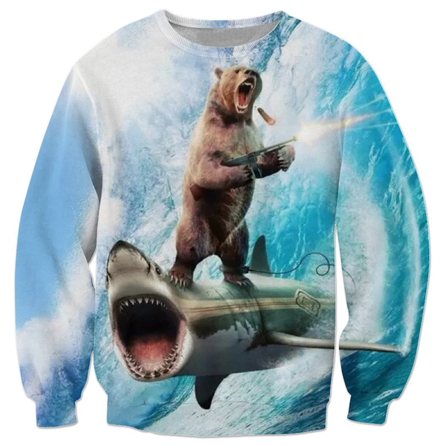 04696089be fashion Women Men Brand clothing Animal Sweatshirts hip hop Coat Funny  Sharks and brown bears 3d Print Long Sleeve Outerwear