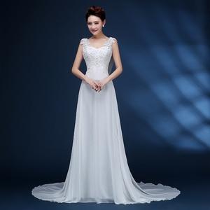 Image 3 - ZJ9054 Corset 2019 Lantejoulas contas de Cristal Do Laço Do Marfim Branco Chiffon Vestidos de Casamento para noivas plus size maxi formal tamanho 2  26 W