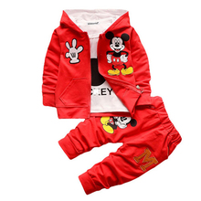 New 2017 Spring Autumn children boys girls clothing sets blue red yellow clothes coat+T shirt pant baby kids 3pcs suit