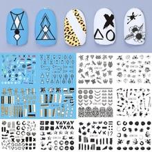 Décalcomanies à leau pour les ongles, autocollants avec motifs géométriques pour manucure française, 12 pièces, décoration Nail Art, TRBN1225 1236 1